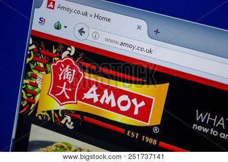 Ryazan, Russia - July 11, 2018: Amoy.co.uk Website On The Display Of Pc