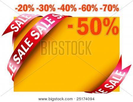 Yellow sale tag in vector