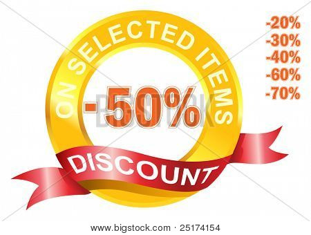 Discount signage in circular shape