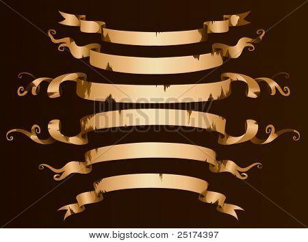 Old vector ribbon banner set