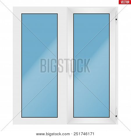 Metal Plastic Pvc Window With Two Sash And One Opening Casement. Indoor View. Presentation Of Models