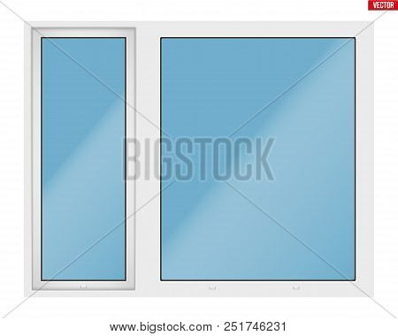 Metal Plastic Pvc Big Window With Two Sash And One Opening Casement. Outdoor View. Presentation Of M