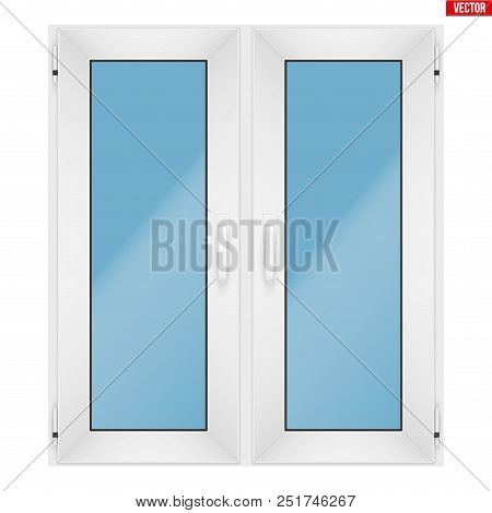 Metal Plastic Pvc Window With Two Sash And Two Opening Casement. Indoor View. Presentation Of Models