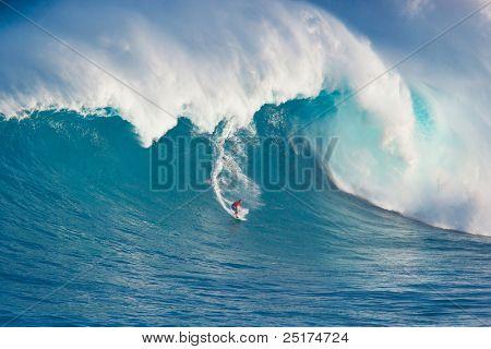 MAUI, HI - MARCH 13: Professional surfer Francisco Porcella rides a giant wave at the legendary big wave surf break