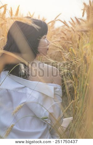 Cute Happy Beautiful Female Against A Background Of Wheat Field At The Time Of The Sunset