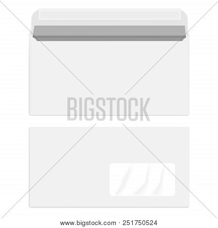 White Right Hand Window Envelope With Self Adhesive Seal, Vector Template