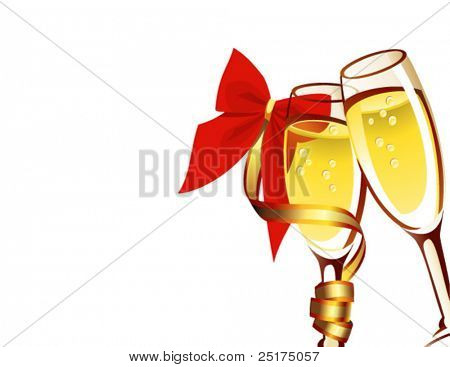 vector illustration ?hampagne in two glasses on white background