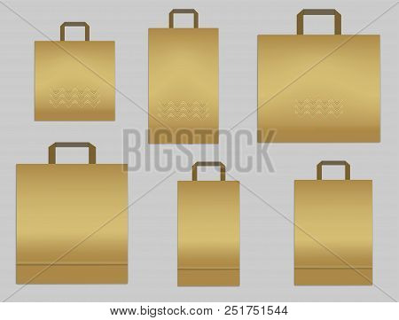 Set Of Paper Shopping Or Merchandise Bags With Handles, Vector Mockup. Golden Colored Package Templa