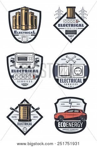 Electrical Service Icons For Home Electricity And Car Transport Electric System Repair. Vector Isola