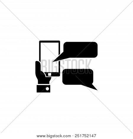 Hand Holds Smartphone With Messaging Sms App. Flat Vector Icon Illustration. Simple Black Symbol On
