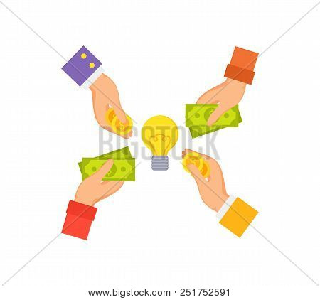 Businessman Hands And Electric Bulb In Centerpiece, Arms Abstract Circle Image With Golden Coins, Sy
