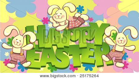 vector happy easter colorful card with funny rabbits