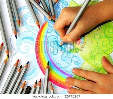 little hands drawing rainbow