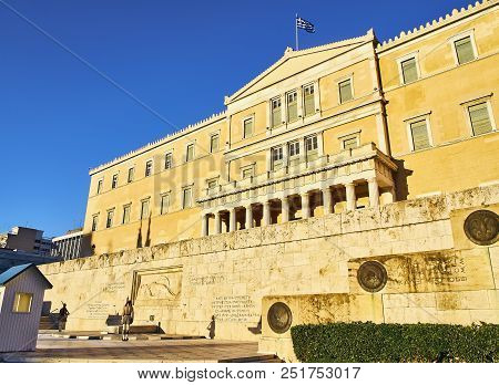 Athens, Greece - June 29, 2018. Principal Facade Of The Old Royal Palace, Greek Parliament Building,