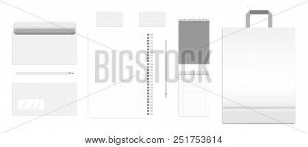 Mockup Set Of Blank Business Stationery Isolated On White Background. Empty Corporate Identity Produ