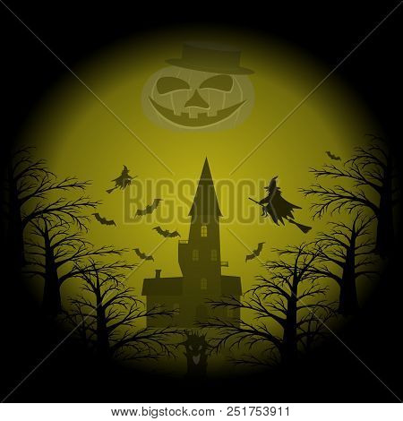Hell Halloween Party Pattern. Witches Flying On Broomsticks, Bats, Castle On Hill, Eerie Night Fores