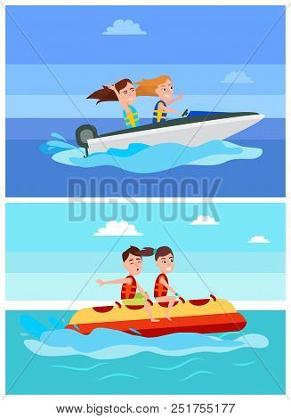 Summer Recreation Collection, Girls And Boy, Banana Boat, And Boating, Vessel And Activities Set Sea