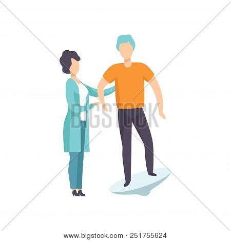 Therapist working with disabled patient using special equipment, recovery after trauma, medical rehabilitation, physical therapy activity vector Illustration isolated on a white background. poster