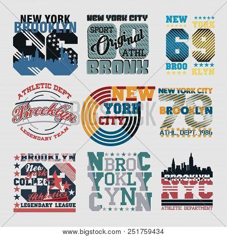 Set New York Typography, T-shirt  Nyc, Design Graphic,  Printing Man Nyc, Original Design Clothing