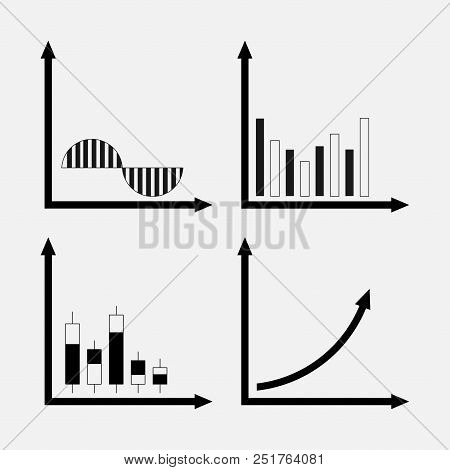 Set Of Icons Of Trade, Stock Market, Analysis Of The Motion Of Profit, Graphics Trade Digrammy Chara