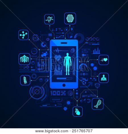 Concept Of Health Care Technology Or E-health, Telemedicine Application Interface