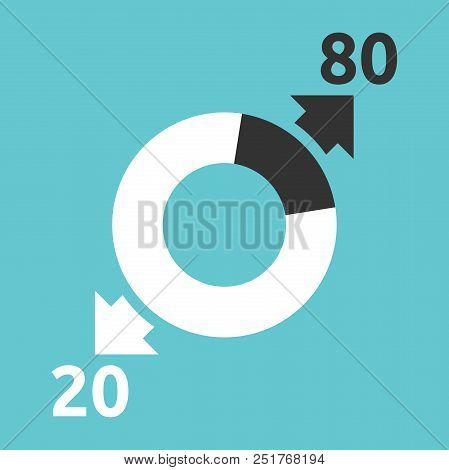 Donut Chart, Arrows Showing Majority 80 Percent Producing 20 And Key 20 Generating 80. Pareto Rule,