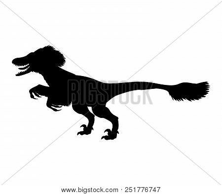 Deinonychus Silhouette Dinosaur Jurassic Prehistoric Animal. Vector Illustration