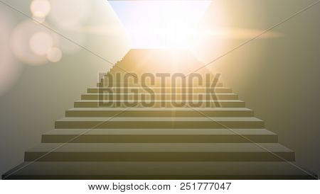 Realistic White Upward Clear Stairs. Eps10 Vector