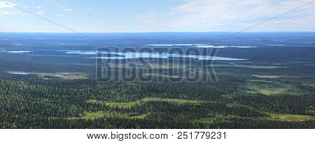 Beautiful Panoramic View From Fell Pallastunturi Over Forests, Lakes And Marshes Of Lapland