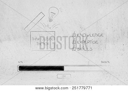 Knowledge Expertise And Skills Conceptual Illustration: Progress Bar Loading And  Captions Next To T
