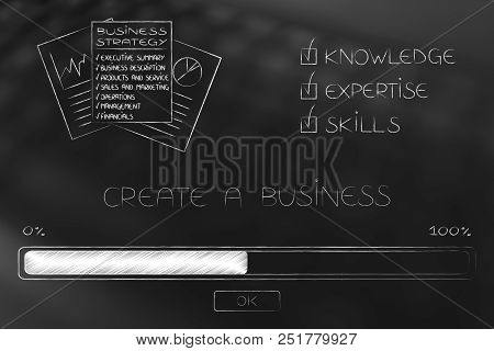 Knowledge Expertise And Skills Conceptual Illustration: Progress Bar Loading And  Captions Next To B