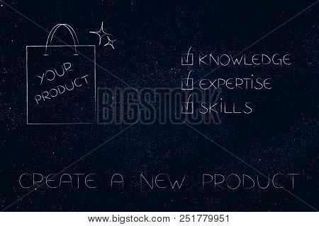 Knowledge Expertise And Skills Conceptual Illustration: Ticked Off Captions Next To Product In Shopp