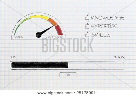 Knowledge Expertise And Skills Conceptual Illustration: Progress Bar Loading And  Captions Next To S