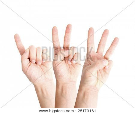 One two three hands