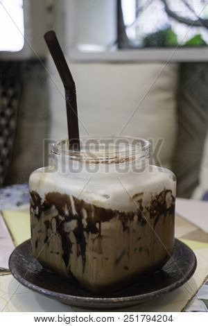 Iced Coffee Mocha Serving On Table, Stock Photo