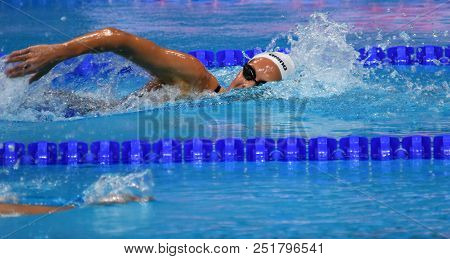 Budapest, Hungary - Jul 25, 2017. Competitive Swimmer Kapas Boglarka (hun) In The 1500m Freestyle Fi