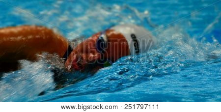 Budapest, Hungary - Jul 25, 2017. Competitive Swimmer Kesely Ajna (hun) In The 1500m Freestyle Final