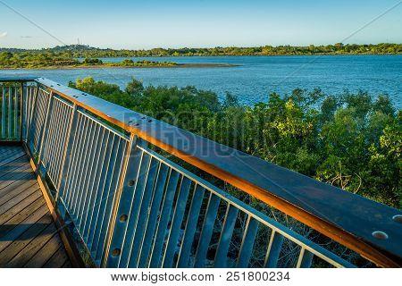 Pioneer River At Sunset In The Summer In Mackay, Queensland, Australia