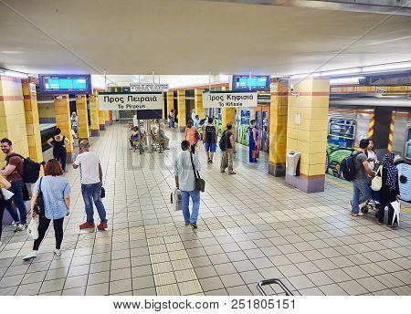 Athens, Greece - June 29, 2018. People Waiting For A Train In A Athens Metro Station.