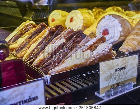 Athens, Greece - June 29, 2018. Trigona Panoramatos, Typical Greek Sweet In A Storefront Of A Greek