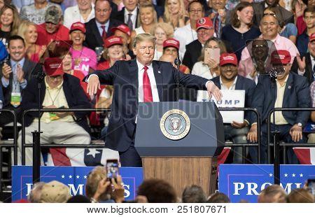 Tampa, Florida - July 31, 2018:  Representative Ron Desantis Addresses A Crowd While President Donal