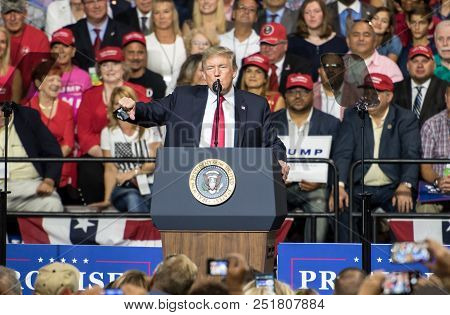 Tampa, Florida - July 31, 2018:  President Donald Trump Addresses His Supporters At A Rally In Tampa