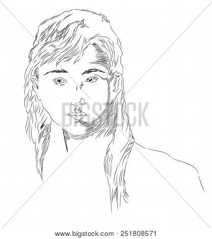 Young Girl.  Portrait Of Beautiful Young Girl. Head Of Young Female.