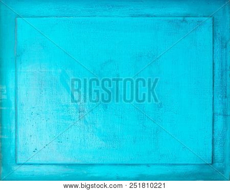 Old Turquoise Painted Wood Background With Frame