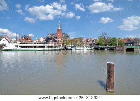 Town Of Leer With Old Scale And Town Hall,east Frisia,lower Saxony,germany