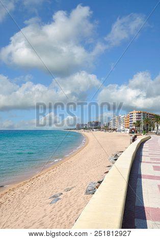 Promenade And Beach Of Blanes At Costa Brava,catalonia,spain