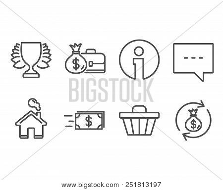 Set Of Shop Cart, Money Transfer And Salary Icons. Winner, Blog And Money Exchange Signs. Web Buying