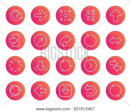 Linear Arrow icons. Set of Download, Synchronize and Recycle signs. Undo, Refresh and Login symbols. Sign out, Next and Upload. Universal Arrow elements. Trendy gradient circle buttons. Vector poster
