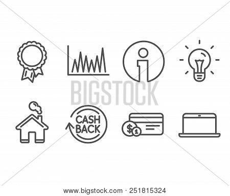 Set Of Payment Method, Line Graph And Idea Icons. Cashback, Success And Laptop Signs. Cash Or Non-ca