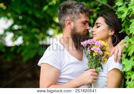 Gentle Kiss. Man Bearded Hipster Hugs Gorgeous Girlfriend. Couple Love Romantic Date Nature Park Bac